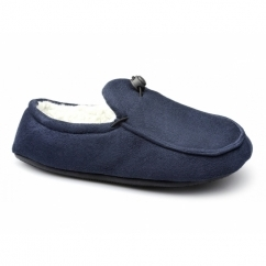 DOUGIE Mens Faux Fur Wide Fit Toggle Slippers Navy