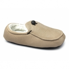 DOUGIE Mens Faux Fur Wide Fit Toggle Slippers Beige