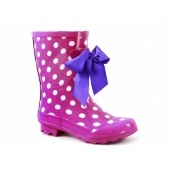 GATCOMBE Ladies Bow Wellington Boots Pink Polka Dot