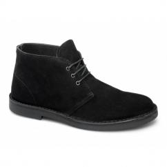 LENNY Mens Suede Leather Desert Boots Black