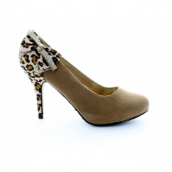 Ladies Camel Court Shoes With Leopard Print And Bow Detail
