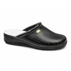 ANGIE Ladies Leather Mule Clogs Sandals Black