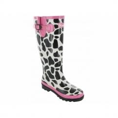 MOO WELLINGTON Ladies Wellies Boots Black/White