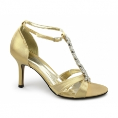 AERONA Ladies Satin Diamante Stiletto Strappy Shoes Gold