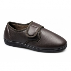 JEREMY Mens Faux Leather Velcro Slippers Brown