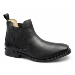RODERICK Mens Leather Padded Chelsea Boots Black