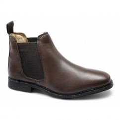 RODERICK Mens Leather Padded Chelsea Boots Brown