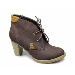CECILIA Faux Nubuck Block Heel Boots Brown