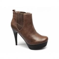 CERYS Ladies Faux Leather Stiletto Chelsea Boots Brown