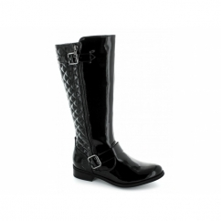 LAURA Ladies Faux Patent Knee High Riding Boots Black