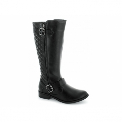 LAURA Ladies Faux Leather Knee High Riding Boots Black