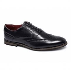 MATTEO Mens Faux Leather Brogue Shoes Black