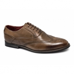 MATTEO Mens Faux Leather Brogue Shoes Brown