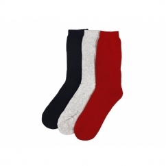 THERMAL Ladies Socks 3 Pairs Red/White/Navy