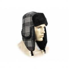 FASHION TRAPPER Mens Warm Winter Hat Checked Grey