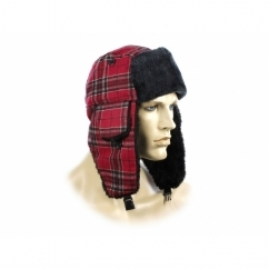 FASHION TRAPPER Mens Warm Winter Hat Checked Red