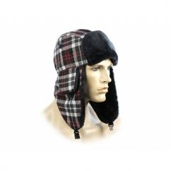 FASHION TRAPPER Mens Warm Winter Hat Checked White & Red