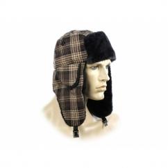 FASHION TRAPPER Ladies Winter Hat Glitter Checked Brown