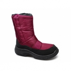 SNOWDRIFT Ladies Waterproof Faux Fur Lined Velcro Boots Red