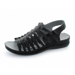 Ladies Faux Leather Velcro Strappy Sandals Black