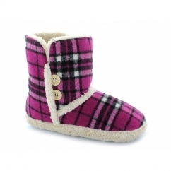 VIENNA Ladies Faux Fur Textile Bootie Slippers Fuchsia