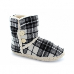 VIENNA Ladies Faux Fur Textile Bootie Slippers Grey