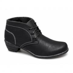 LYRA Ladies Faux Leather Fur Heeled Boots Black