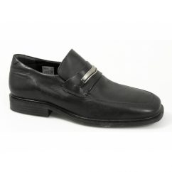 Mens Leather Square Toe Penny Loafers Black
