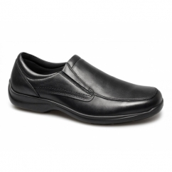 FINLAY Mens Leather Twin Gusset Loafers Black