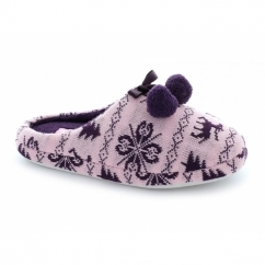 JODIE Ladies Bobble Ribbon Mule Slippers Pink