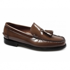 CALABRIA Mens Leather Moccasin Tassel Loafers Brown