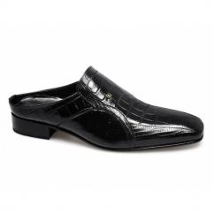 CATANZARO Mens Scaly Leather Half Shoes Black