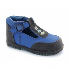 Infant Textile Lined Padded Scuff Cap Buckle Boots Blue
