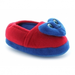Boys Girls Smiley Heart Slippers Red/Blue