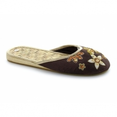 Girls Sequined Embroidered Flats Woven Mule Sandals Brown
