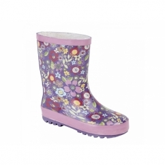 Girls Floral Print Short Wellington Boots Mauve/Pink