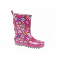 Girls Floral Print Short Wellington Boots Pink