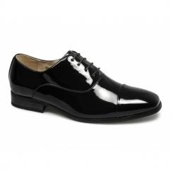 DESMOND Mens Patent Square Toe Cap Dress Shoes Black