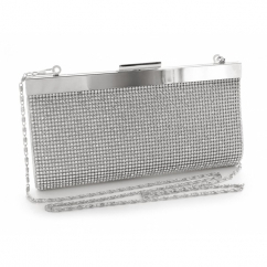 Full Diamante Small Clutch Bag Silver