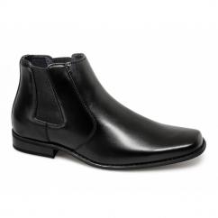 MARCEL Mens Faux Leather Chisel Toe Chelsea Boots Black