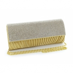 Diamante Ruched Satin Small Clutch Bag Gold