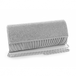 Diamante Ruched Satin Small Clutch Bag Silver