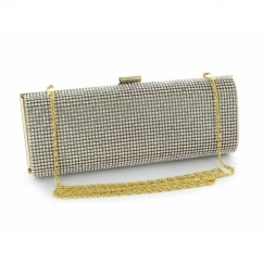 Half Diamante Small Clutch Bag Gold
