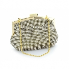 Full Diamante Small Clutch Bag Gold