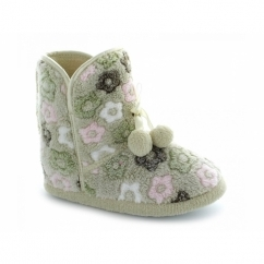 Ladies Warm Floral Winter Bobble Bootie Slippers Beige Multi