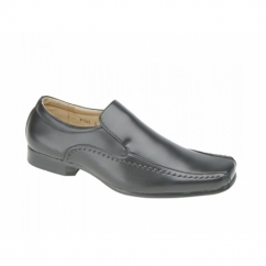 MAXWELL Mens Faux Leather Tramline Loafers Black