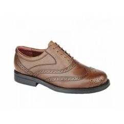STEWART Mens Leather Brogue Shoes Brown