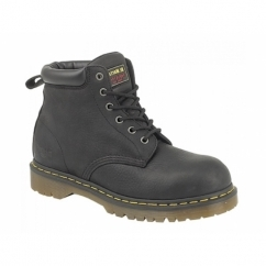 FORGE ST Mens Greasy Leather Industrial Safety Boots Black