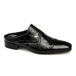 LAZIO Mens Scaly Ostrich Leather Half Shoes Black