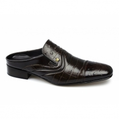 LAZIO Mens Scaly Ostrich Leather Half Shoes Brown